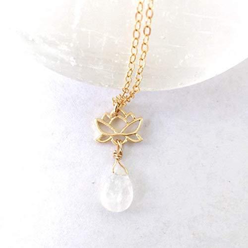 14K Gold Teardrop Rainbow Moonstone Lotus Pendant - Healing Crystal Charm Necklace- Women's June Birthstone Jewelry - For Girlfriend, Sister, Bridesmaid, ()