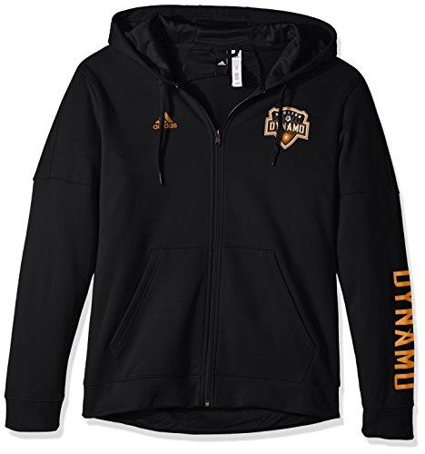adidas MLS Houston Dynamo Adult Men Armed Team Issue Full Zip Hood, Large, (Short Sleeve Zip Tech Tee)