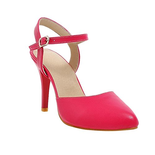 Carolbar Mujeres Pointed Toe Hebilla Atractiva Fiesta De Baile Encanto High Stiletto Heel Dress Sandalias Peach Red