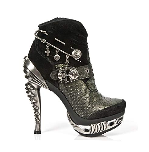 Cowboy Ladies MAG032 Rock Green Heel New Black Gothic Western S1 M Punk Metal Shoes Leather Women's Heavy w1awEXqc