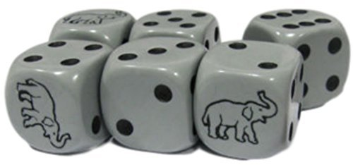 Zoo Set Die (Custom & Unique {Standard Medium 16mm} 6 Ct Pack Set of 6 Sided [D6] Square Cube Shape Playing & Game Dice Made of Plastic w/ Rounded Corner Edges w/Elephant Outline With Pips Design [Gray & Black])
