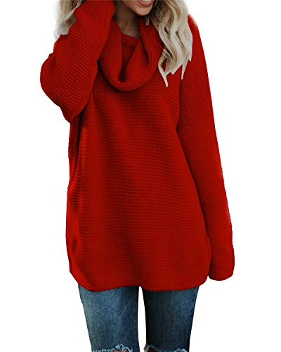 Geckatte Womens Cowl Neck Sweaters Loose Long Sleeve Casual Tunic Tops Pullover Jumper