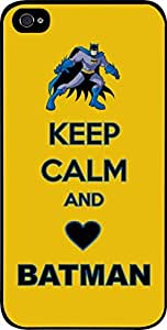 Keep Calm and Love Batman - Blue and Yellow - Hard Black Plastic Snap - On Case -Apple Iphone 6 ONLY- Great Quality!