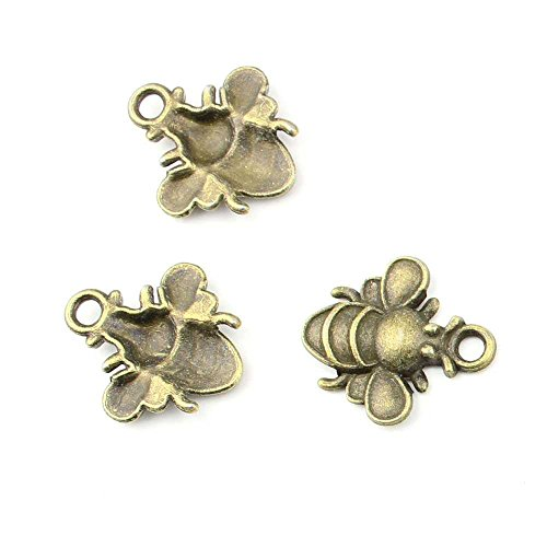 60 pieces Anti-Brass Fashion Jewelry Making Charms 1652 Bees Wholesale Supplies Pendant Craft DIY Vintage Alloys Necklace Bulk Supply Findings Loose