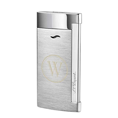 (Personalized S.T.Dupont Slim 7 Single Torch Flame Lighter - Brushed Chrome with Free Laser Initial Engraving)