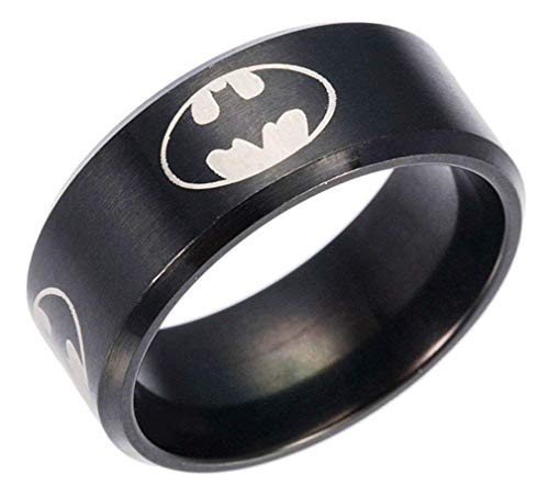 YuRocker Batman Ring for Men Women - Wide 8mm Black Stainless Steel Jewelry Gift Size 6 ()