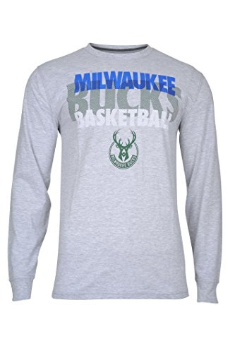 fan products of NBA Men's Milwaukee Bucks T-Shirt Supreme Long Sleeve Pullover Tee Shirt, X-Large, Gray
