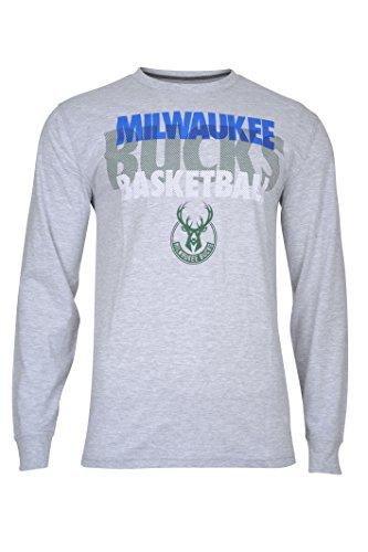 - NBA Milwaukee Bucks Men's T-Shirt Supreme Long Sleeve Pullover Tee Shirt, XX-Large, Gray