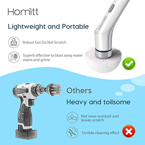 Homitt Electric Spin Scrubber Power Cleaning Brush, Cordless and Handheld Bathroom Scrubber with 3 Replaceable Brush Heads, High Rotation for Cleaning Shower, Floor, Tile Grout, Kitchen and Sink by Homitt (Image #1)