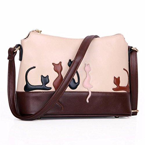 Fulltime (TM) mujeres Cute Gato Conejo Piel Bolso Bolsa de hombro Cruz Cuerpo Bolso de mano bolso Messenger, Infantil mujer, B, Size: 29cm(L)*19cm(H)*13cm(W) A