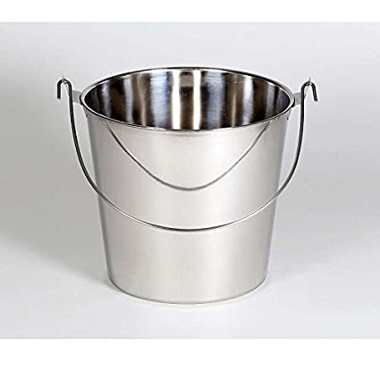 Acero inoxidable Cubo de Agua 9 litros, con asas (Cubo de ...