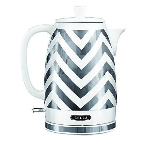 BELLA 1.8 Liter Electric Ceramic Tea Kettle with Detachable Base & Boil Dry Protection, Silver Chevron, 7.5 Cup Capacity Electric Tea Kettle with Automatic Shut Off & Detachable Swivel Base (14537)