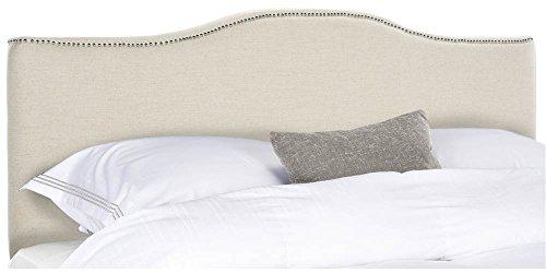 Safavieh Mercer Collection Jeneve Off-White Linen Silver Nailhead Headboard (Safavieh Linen)