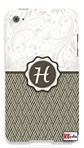 Monogram Initial Letter H Apple ipod 5 Ipod 5g Quality Hard Case Snap On Skin for ipod Gen 5 and 5, 5G (WHITE CASE)