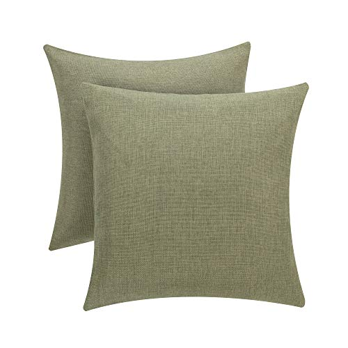 Linen Throw Pillow Covers Decorative Pillow case with Hidden Zipper for Home Faux Linen Square for Car Couch Cushion Covers (Green, 20