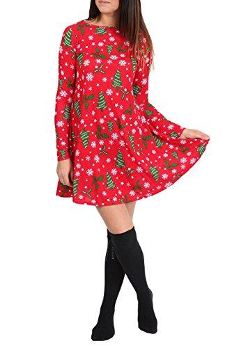 Damen Neuheit Weihnachtsfeier Swing Kleid Weihnachtsbaum Rot ...