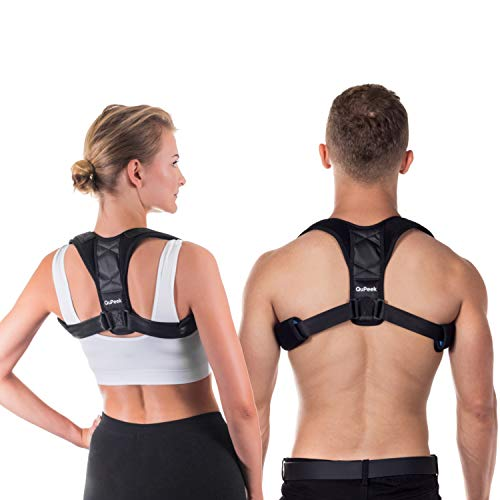 QuPeek Posture Corrector Back Support Brace for Men and Women - Improves Posture, Prevents Slouching and Hunching, Reliefs Upper Back and Neck Pain - Adjustable and Comfortable with Underarm Pads by QuPeek