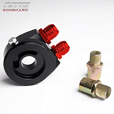 10 Row AN10-10AN Universal Engine Transmission Aluminum Oil Cooler Kit + Oil Filter Relocation Kit Black: Automotive