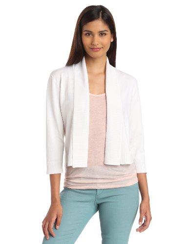 Calvin Klein Women's Shrug Sweater, White,Medium