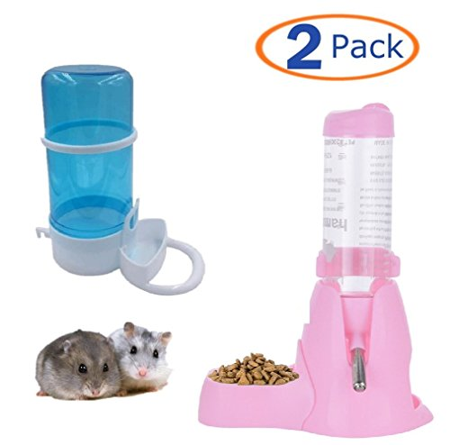 Automatic Pet Feeder,Water Drinking Bottle with Food Container Base Hut for Hamster,Hanging Water Feeding Bottles Auto Dispenser for Small Animals(Pack of 2) (125ML, Pink)