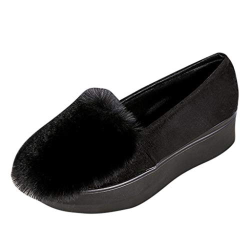 ANJUNIE Women's Platform Thick Soft Loafers Sole Shoes Wedges Flat Lazy Peas Shoes Slip On