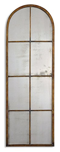 iqued Maple Brown & Gold Window Shaped Metal Framed Arch Wall Mirror ()