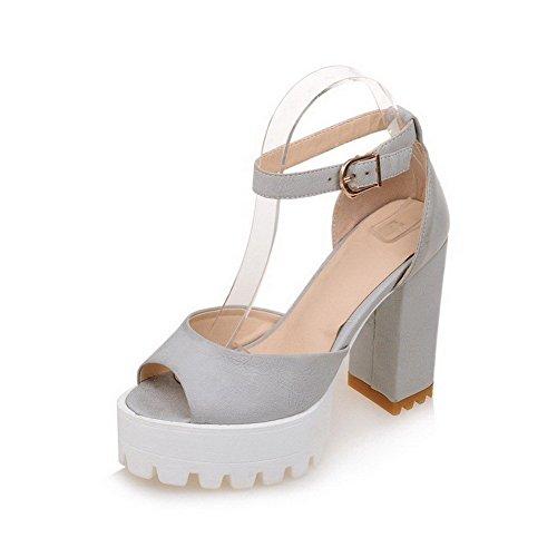 AllhqFashion Women's Peep Toe Buckle PU Solid High-Heels Sandals Gray n6I2mxvlUi