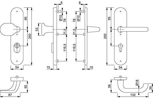 Hoppe Paris Aluminium Schutz-Wechselgrt Schild 86G//3332ZA//3310//138 GRT-SST ES1 F9016 PZ-92 10