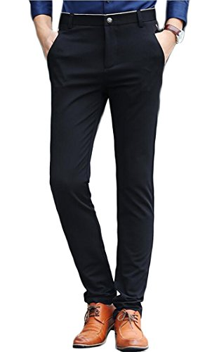 Esast Mens Slim Fit Wrinkle-Free Casual Stretch Pants, Comfort Suit Pant Dress Trousers free shipping