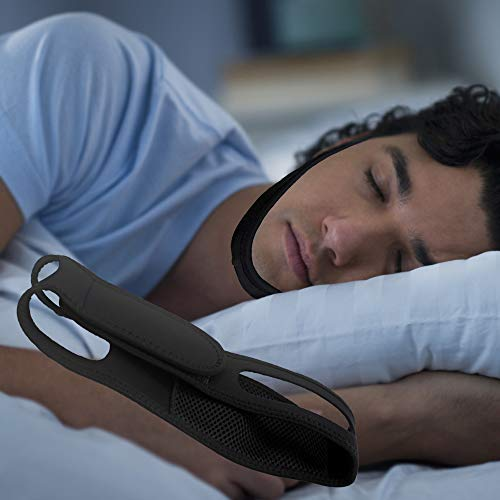Anti Snore Chin Strap to Help Good Sleep – Snore Stopper Sleep Aids Solution – Adjustable Stop Snoring Device for Men Women (BlackStraight)