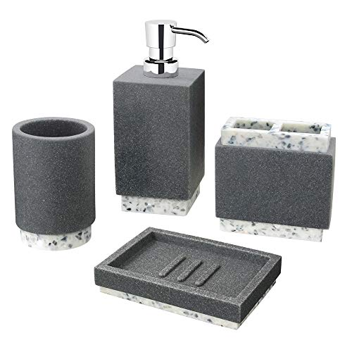 Allure Home Creations Marcello Stone 4-Piece Bathroom Accessory Set- 1 Lotion Pump, 1 Toothbrush Holder, 1 Soap Dish and 1Tumbler
