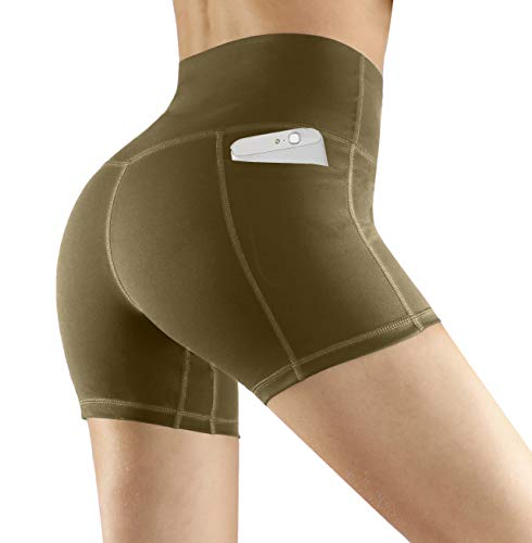 Fengbay High Waist Yoga Shorts, Workout Running Shorts with Side Pockets Tummy Control Compression Shorts for Women Army Green