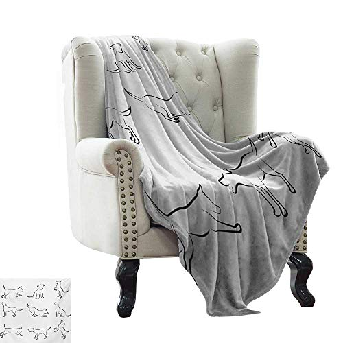 LsWOW Baby Blanket Dog,Digital Sketches of a Puppy Moving Around Scratching Simple Life Style Artistic Work,White Black Warm & Hypoallergenic Washable Couch/Bed Throws 30