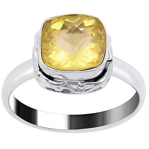 Lemon Quartz Ring By Orchid Jewelry| Anniversary Rings For Women| Womens Engagement Rings| Promise Ring For Her| Silver Overlay Brass Fashion Ring| Fashion Rings Size 7| (2.30 Ctw)
