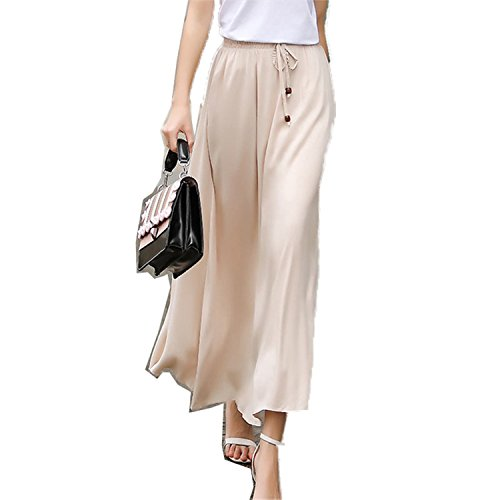 Price comparison product image JIANGTAOLANG Women Bohemian Linen Cotton Long Skirt Elastic High Waist Maxi Pleated Beach Skirt Beige One Size
