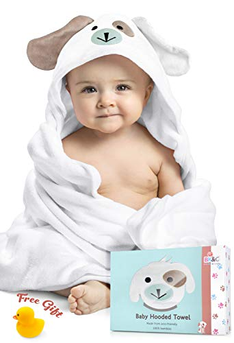 Baby Hooded Towel for Newborn and Toddler - 100% Premium Organic Bamboo Cotton. for Boys and Girls. X-Large, 35 x 35 inches. Perfect Baby Shower Gift with Bonus Washcloth and Greeting Card