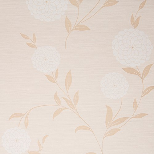 Wallpaper Designer Floral (Pom Pom Beige / White Floral Vinyl Wallpaper for Walls - Double Roll - By Romosa Wallcoverings LL7551)