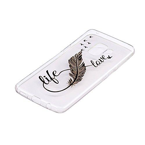 Funda para Samsung Galaxy S9 Plus , IJIA Transparente Negro Pluma Bird TPU Silicona Suave Cover Soft Case Tapa Caso Parachoques Carcasa Cubierta para Samsung Galaxy S9 Plus (6.2)