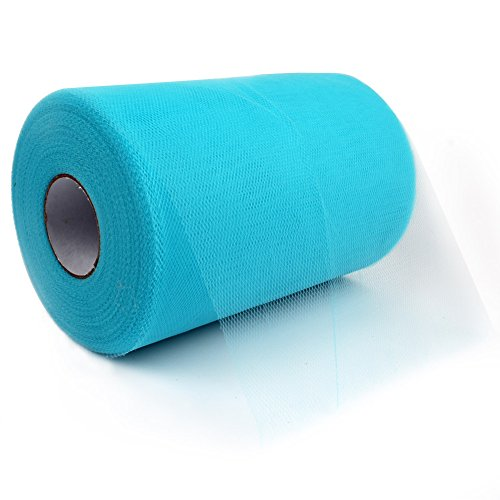 OurWarm 6 Inch x 100 Yards (300FT) Tulle Roll Spool Tutu Skirt Fabric Wedding Party Gift Bow Craft (Aqua Blue / Turquoise)