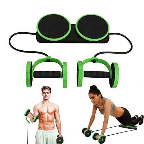 MACUNIN Multi Function Double AB Roller Wheel Exercise Equipment for Home Gym,Abdomen and Arm Workout Equipment Waist Slimming Trainer for Man and Women (Green)