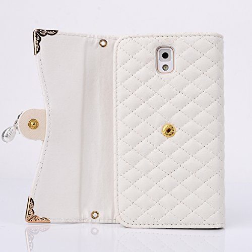 Galaxy Note 3 Case,HYAIZLZ(TM)Grid Pattern Wallet Leather Flip Crystal Color Pendants Case For Samsung Galaxy Note 3 With Long Chain,White