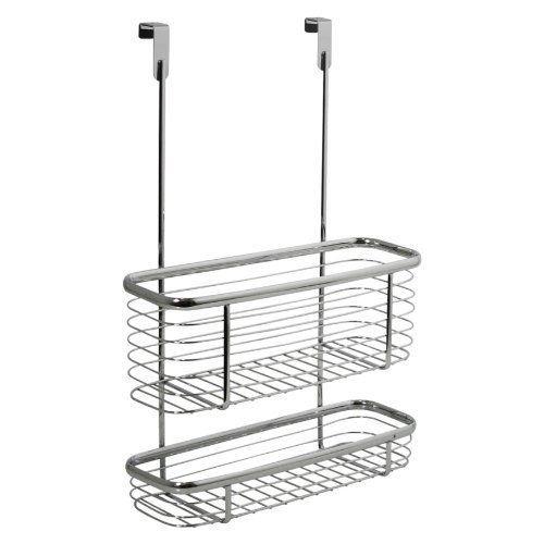 Double Shelf Over Cabinet Basket Bathroom Shower Rack Caddy Storage Organiser O2H