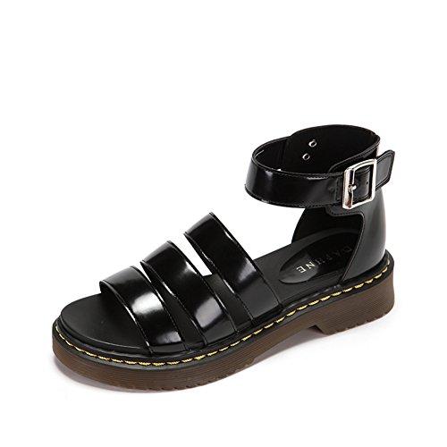 Ladies Summer Comfort Low Heel Sandalen,Elegante Schnalle Mit Runder Kopf,Schuhe Mit Peep-toe Chunky Heels A