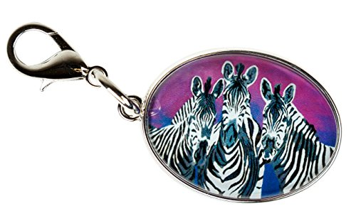 Animal Zipper Pull, Bag Charm with Lobster Claw Clasp - Bag Jewelry - Wearable Art (Zebra - Family)