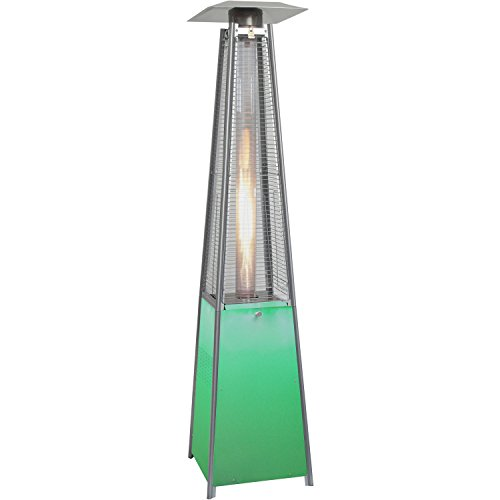 Base Square Heater (Hanover HAN110SS Square Propane Patio Heater with Stainless Steel Frame & Multicolor LED Lighted Base, 7')