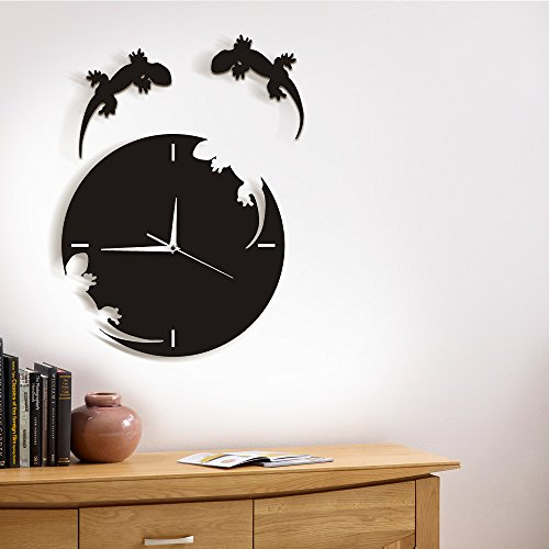 - Abstract Wall Art Geckos Escape from The Clock Gecko Wall Clock Salamander Gecko Lizard Silhouette Reptile Modern Design Wall Clock