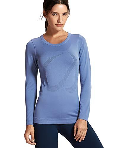 - CRZ YOGA Women's Seamless Active Long Sleeve Workout Running Sports Leisure T-Shirt Gray-blue-R759 M(8/10)