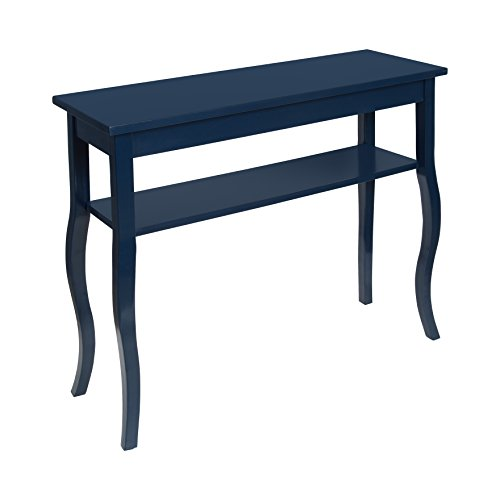 Kate and Laurel - Lillian Wood Console Table with Decorative Curved Legs and Shelf, Navy Blue