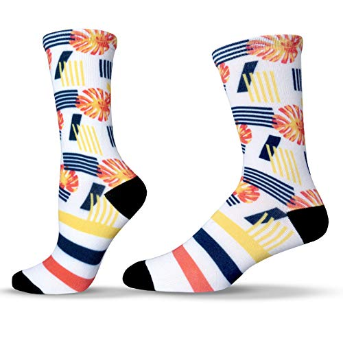 Unisox Floral Socks - Colorful Monstera Leaf Pattern Socks - Monstera Energy