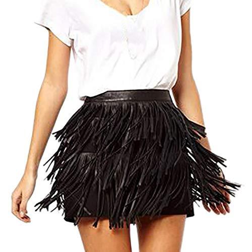 Women Hot Faux Leather PU Bodycon Party Clubwear Tassel Mini Skirt Hippie Fringe Mini Skirt Black